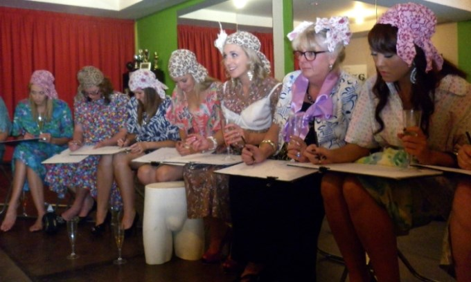 hens night at a life drawing event