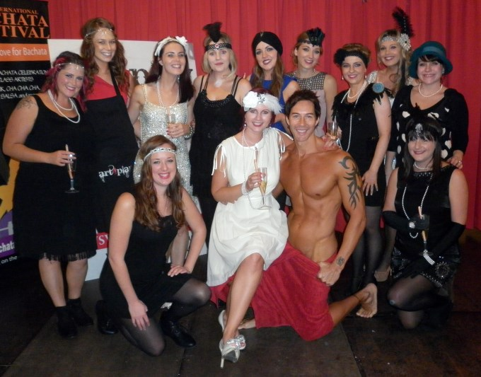 a group of flapper girls at a hens night