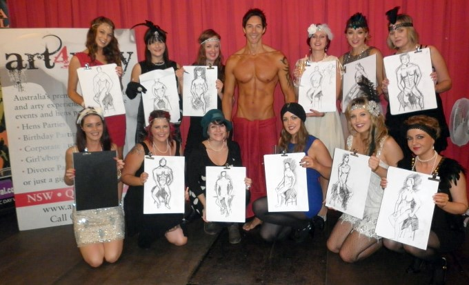 the hens party girls with their life drawings